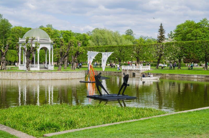 Étang en parc de Kadriorg à Tallinn, Estonie images libres de droits