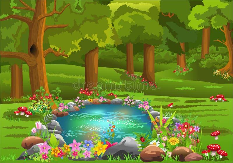 Étang entouré par des fleurs au milieu de la forêt illustration de vecteur