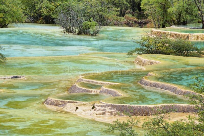 Étang multicolore dans la région scénique de Huanlong photos libres de droits