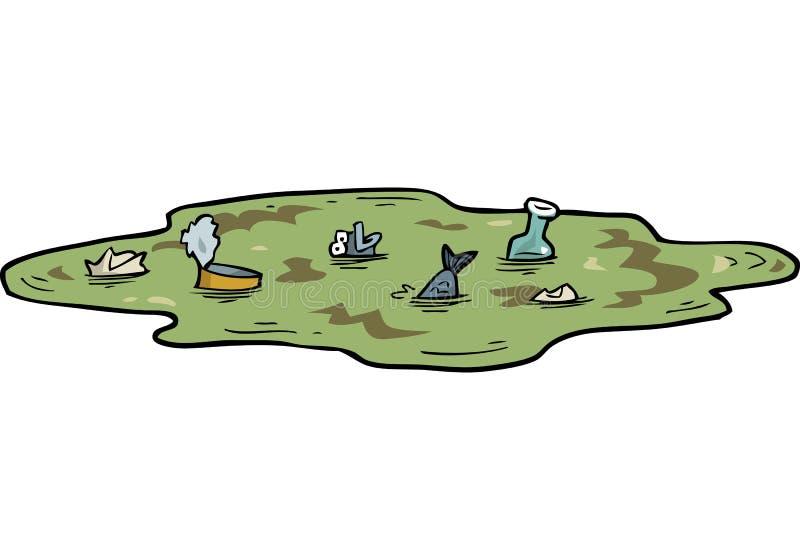 Étang pollué par bande dessinée illustration de vecteur