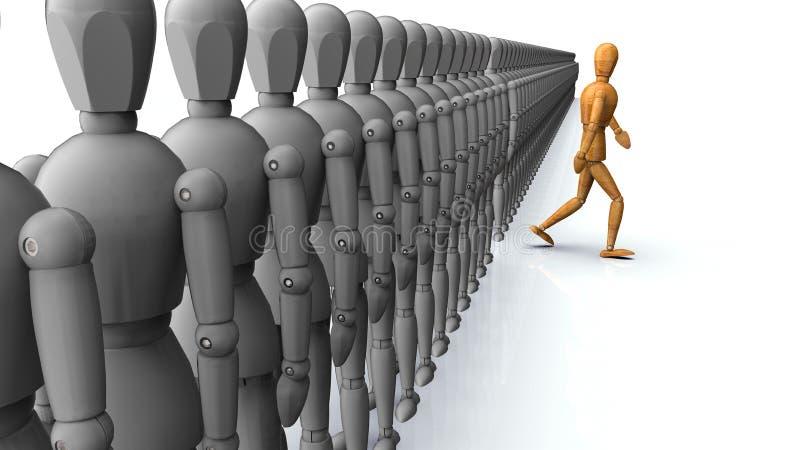 Étant différent, une personne allant l'autre direction illustration libre de droits