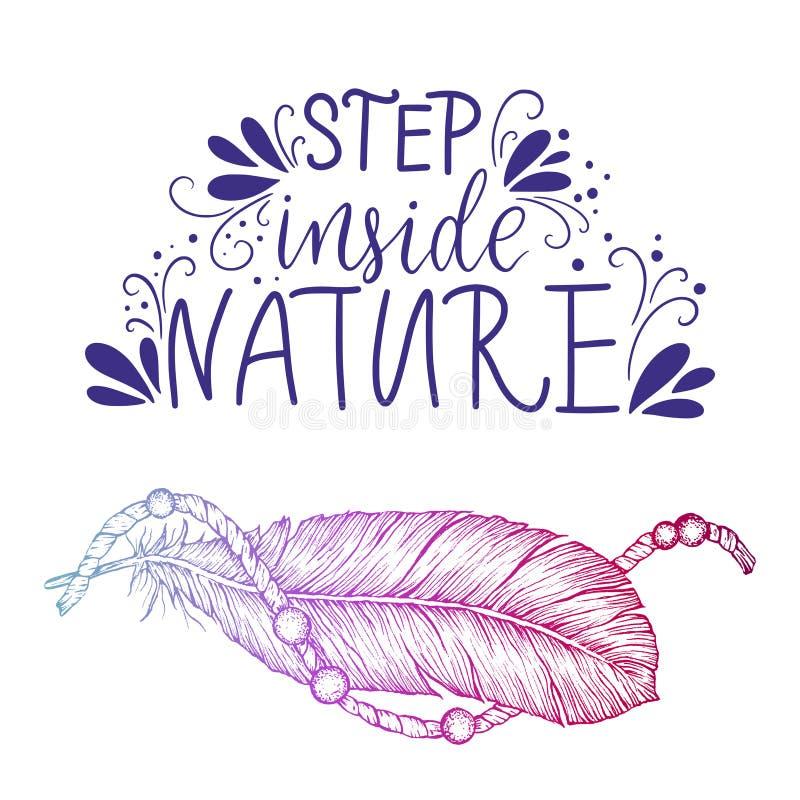 Étape à l'intérieur de nature Plumes tirées par la main détaillées de vecteur illustration libre de droits