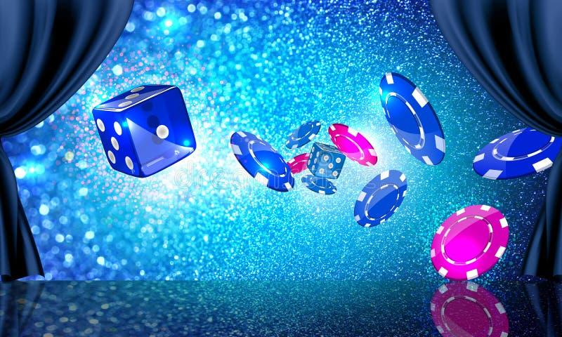 Étape avec des pièces de monnaie et des matrices de casino illustration libre de droits