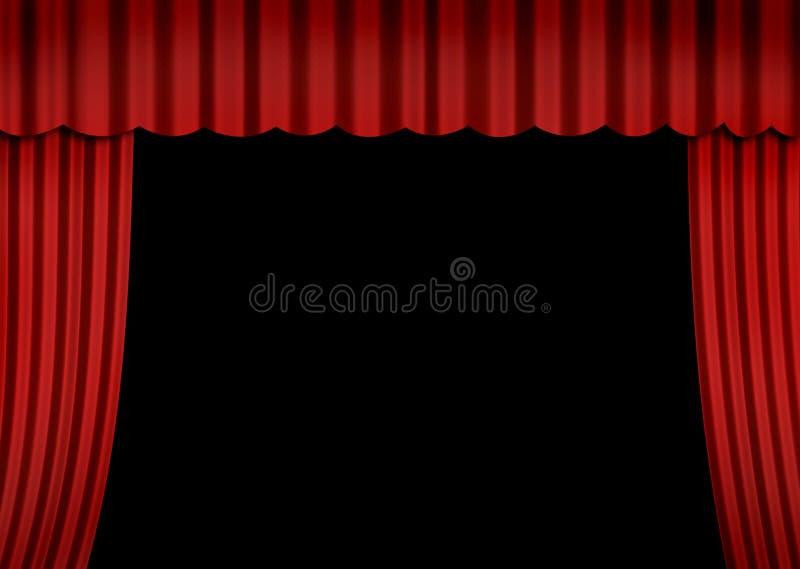 Étape avec le rideau rouge illustration stock