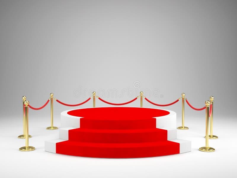 Étape avec le tapis rouge pour la cérémonie de récompenses Podium, concept de piédestal illustration libre de droits