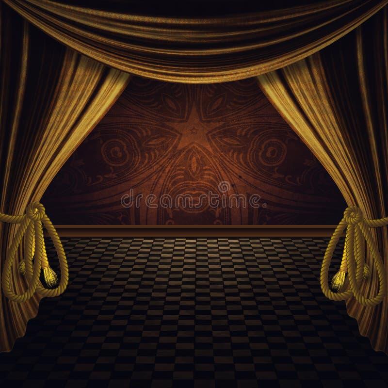 Étape avec les rideaux d'or illustration stock