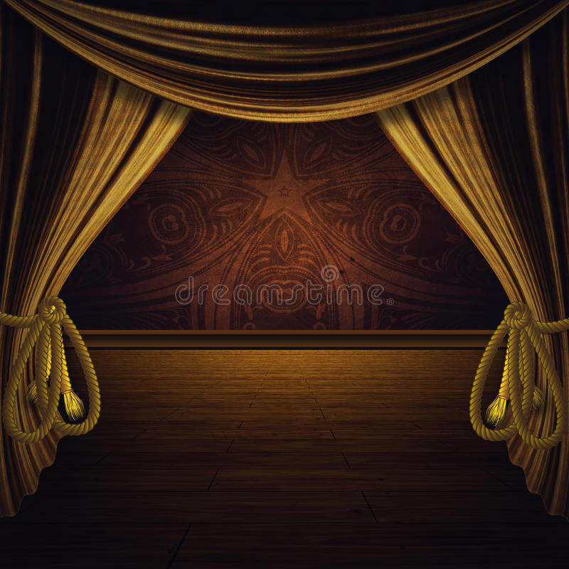 Étape avec les rideaux d'or illustration libre de droits