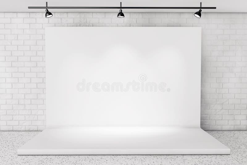Étape blanche de contexte dans la chambre avec le mur de briques illustration stock