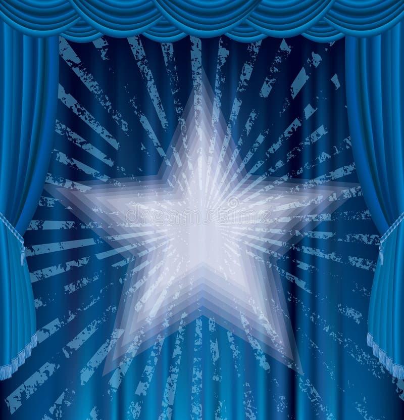 Étape bleue de rayons illustration de vecteur