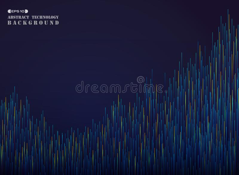 Étape d'abstraction futuriste dans le bleu et la ligne orange fond de gradient de modèle illustration stock