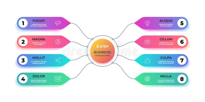 Étape 3D infographic Diagramme graphique de cercle réaliste, disposition ronde de graphique de gestion, présentation d'étape Déro illustration de vecteur