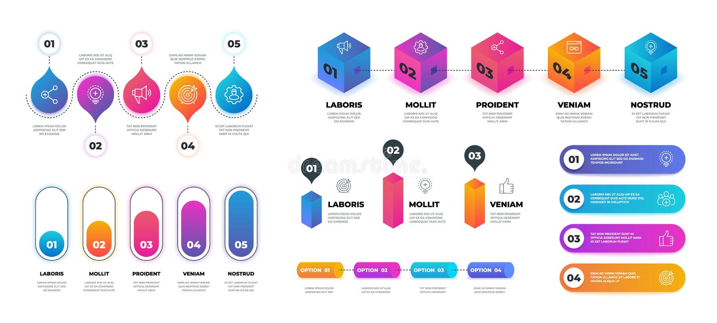 Étape 3D infographic Graphique réaliste d'organigramme, calibre de présentation d'options d'affaires Graphique de cercle de dérou illustration de vecteur