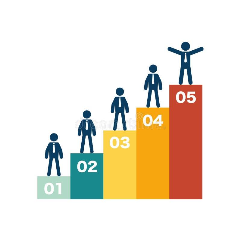 Étape de la réussite commerciale cinq infographic illustration de vecteur