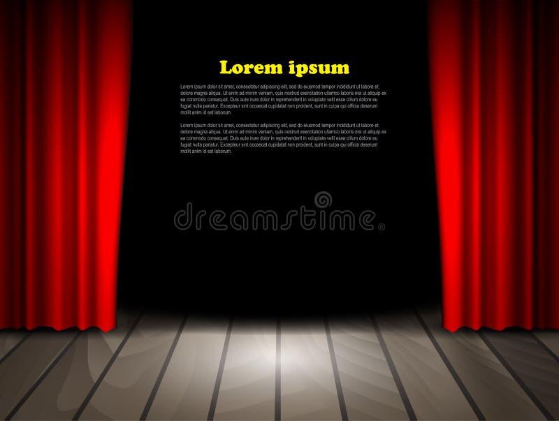 Étape de théâtre avec le plancher en bois et les rideaux rouges illustration stock
