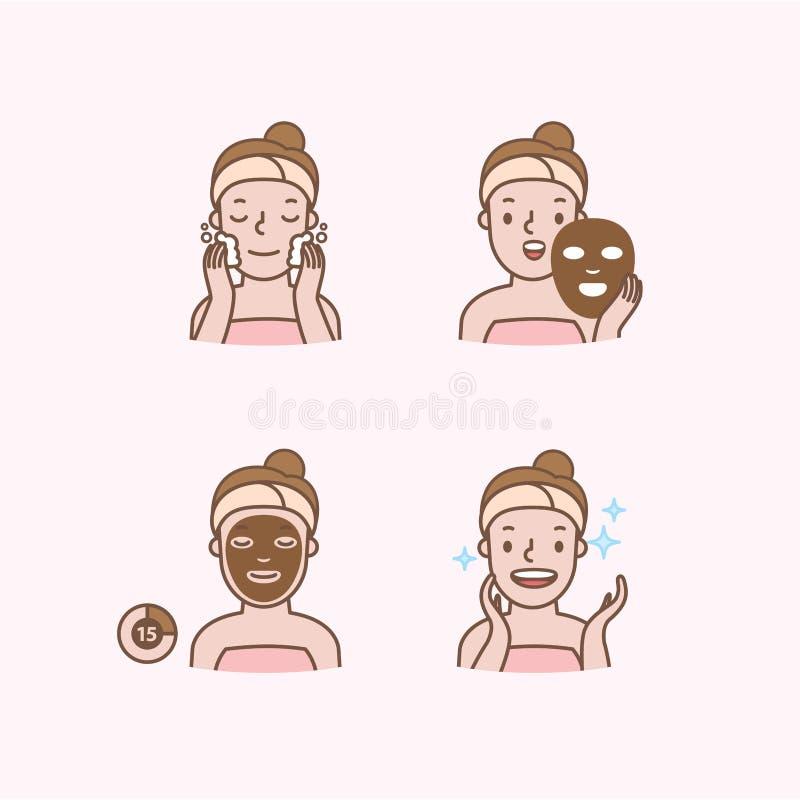 Étape de visage masquant le demi vecteur d'illustration d'icône de corps sur le fond rose Concept de beauté illustration de vecteur