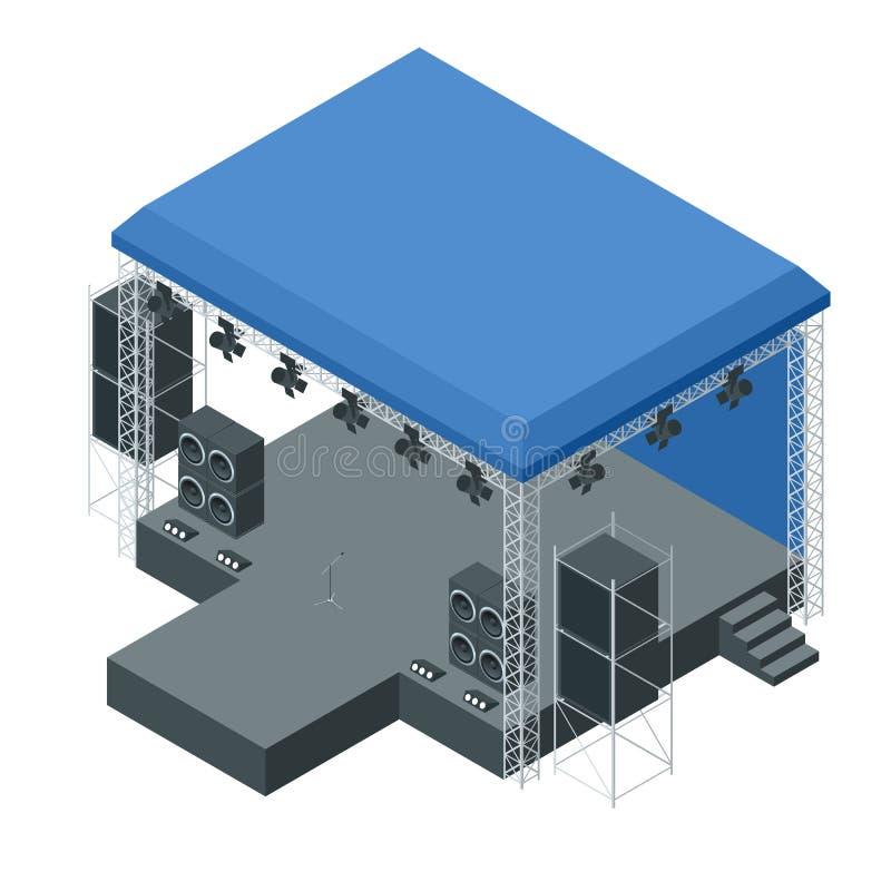 Étape extérieure isométrique de concert, système de botte Étape de concert de podium Divertissement, scène et événement d'exposit illustration stock