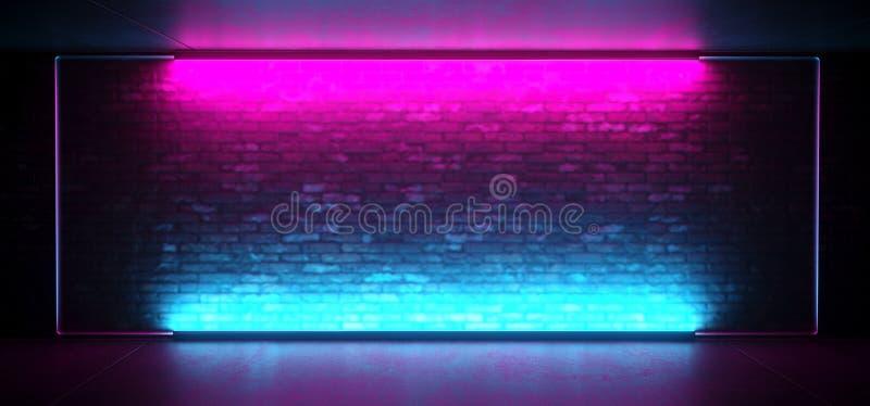 Étape futuriste menée rougeoyante au néon de club de Sci fi rétro avec le cadre en verre givré bleu allumé vide de pourpre sur le illustration libre de droits