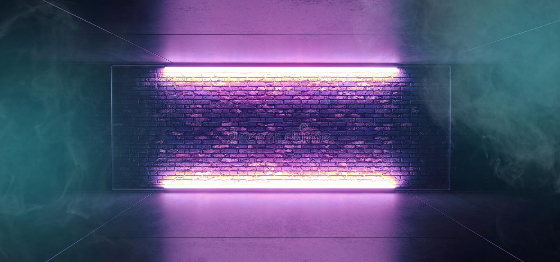 Étape futuriste rougeoyante au néon de club de Sci fi de brouillard de fumée la rétro avec le bleu allumé vide de pourpre a givré illustration stock
