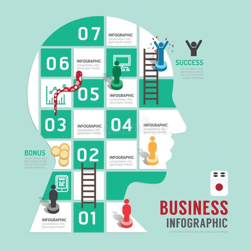 Étape infographic de concept de jeu de société d'affaires à réussi illustration de vecteur