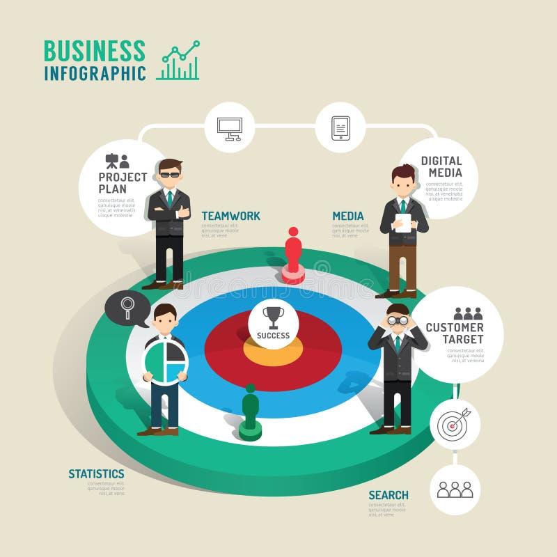 Étape infographic de concept de jeu de société de cible d'affaires au succès illustration libre de droits
