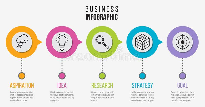 Étape infographic Diagramme de processus d'affaires pour la présentation Chronologie de vecteur avec 5 options illustration stock