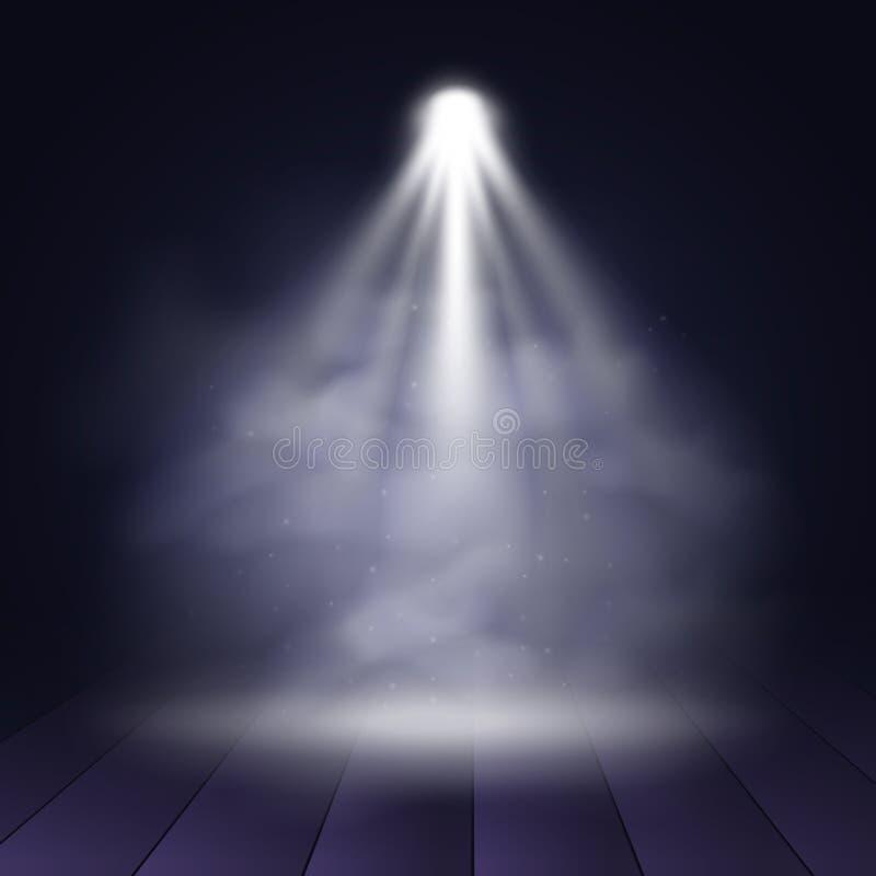 Étape lumineuse avec les lumières et la fumée scéniques, fond de vecteur illustration libre de droits