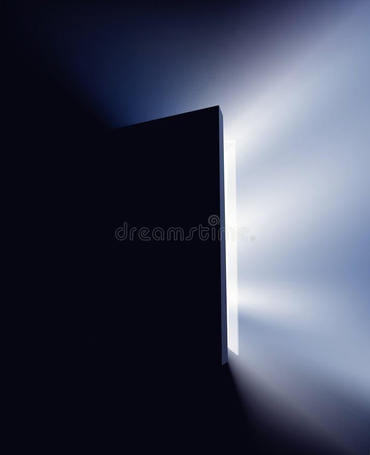 Étape par la porte ouverte dans la lumière illustration stock