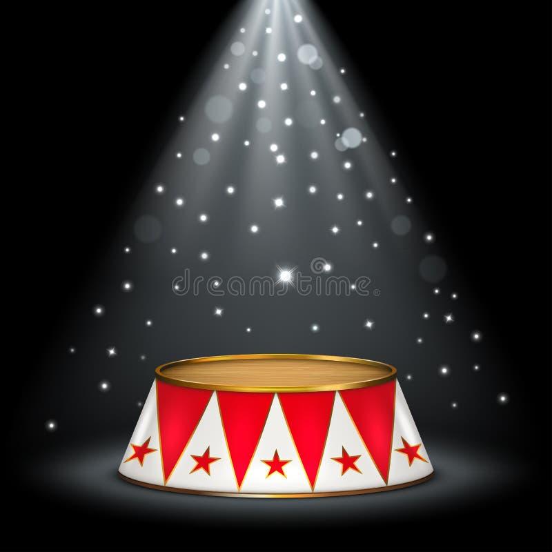Étape rouge de cirque de velours de cirque illustration de vecteur