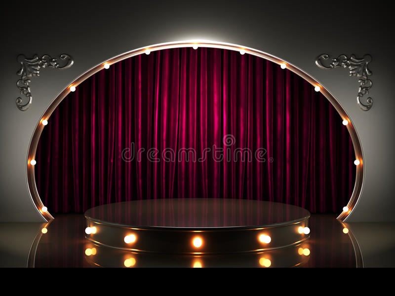 Étape rouge de rideau avec des lumières illustration libre de droits