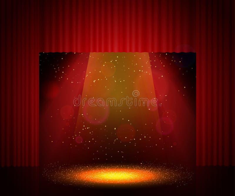 Étape vide de théâtre avec le rideau Fond en démonstration, presentat illustration stock