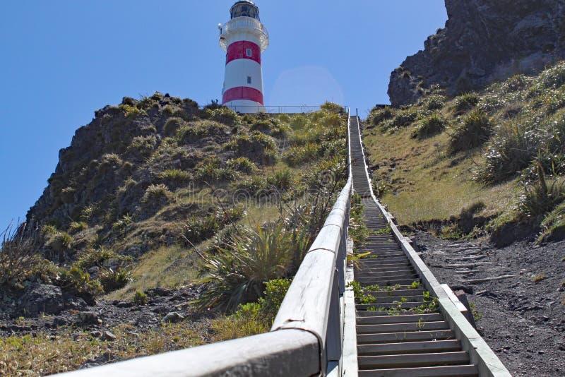 250 étapes amènent au phare rayé rouge et blanc au cap Palliser sur l'île du nord, Nouvelle-Zélande La lumière a été incorporée photographie stock libre de droits