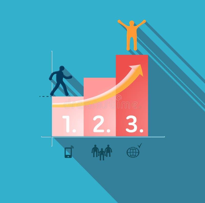 Étapes au succès. Illustration d'Infographic illustration stock