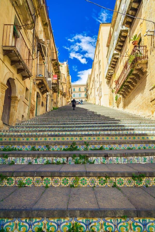 Étapes célèbres chez Caltagirone, Sicile photo stock