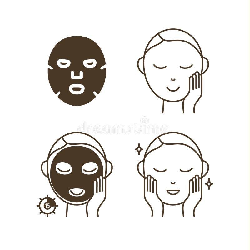 Étapes comment employer le masque facial de feuille illustration de vecteur