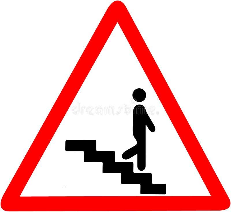 Étapes d'échelle d'escaliers avertissant le panneau routier de sécurité Le symbole d'avertissement rouge se connectent le fond bl illustration stock