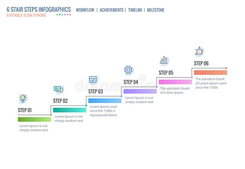 Étapes d'escalier, échelle d'accomplissement, calibre d'Infographics de chronologie, niveaux de démarrage Direction d'affaires, c illustration stock