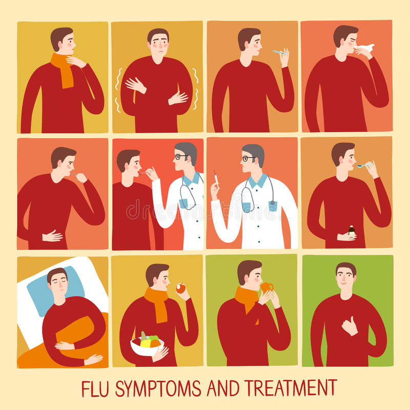 Étapes de froid et de grippe et ensemble de traitement illustration libre de droits