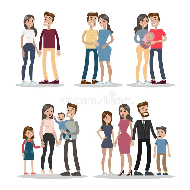 Étapes de la vie de couples illustration libre de droits
