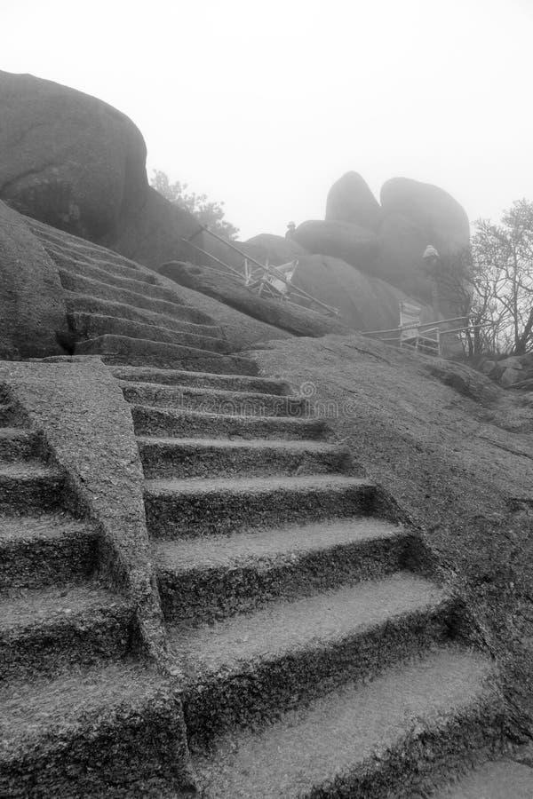 Étapes de montagne de Huangshan images libres de droits