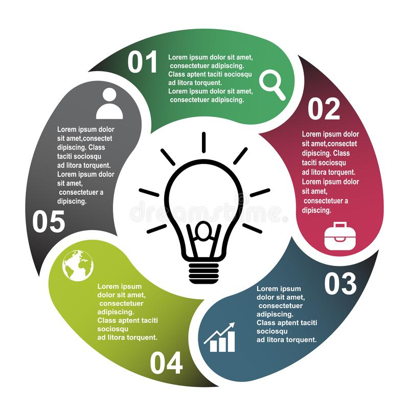 5 étapes dirigent l'élément dans cinq couleurs avec des labels, diagramme infographic Concept d'affaires de 5 étapes ou options a illustration stock