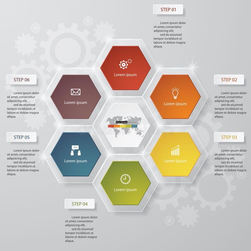 6 étapes dressent une carte la disposition de calibre/graphique ou de site Web illustration libre de droits