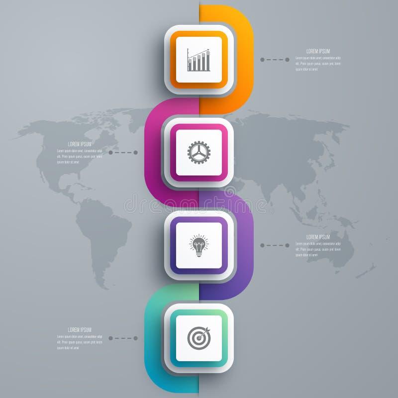 Étapes du calibre 4 d'infographics d'affaires avec la place illustration stock