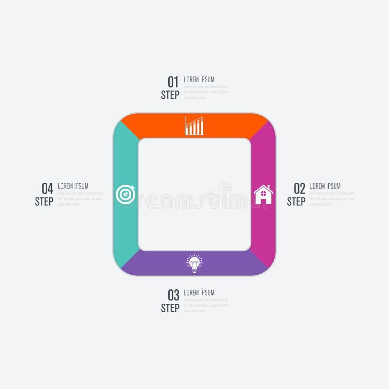 Étapes du calibre 4 d'infographics d'affaires avec la place illustration libre de droits