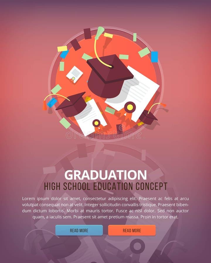 Étapes du processus éducatif Graduation Concepts verticaux de disposition d'éducation et de science Style moderne plat illustration de vecteur