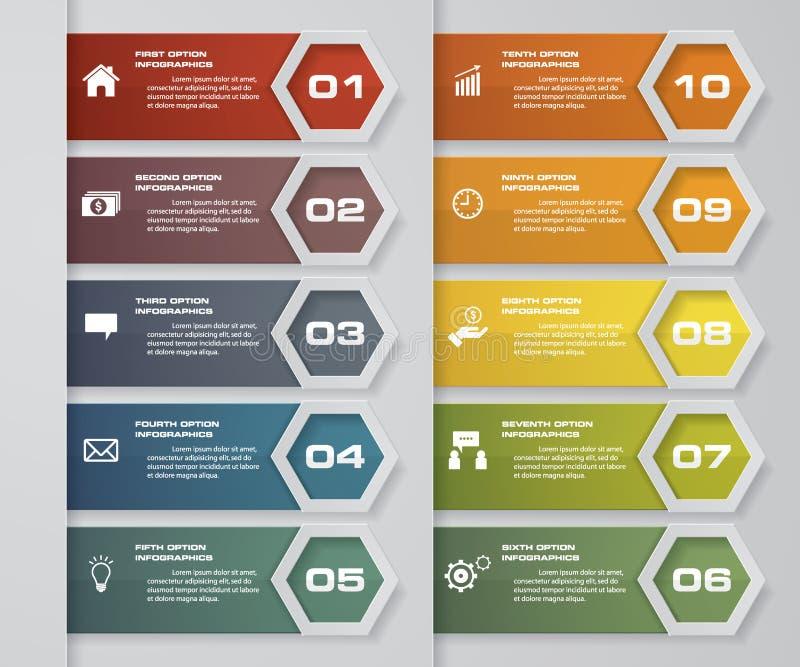 10 étapes empaquettent l'élément d'infographics d'étiquette Disposition de dessin ou de site Web Vecteur illustration stock