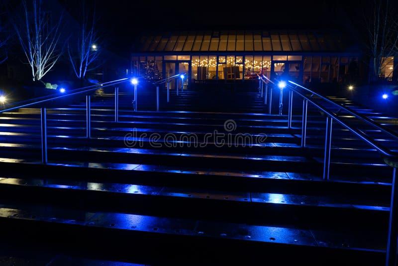 Étapes illuminées par les projecteurs bleus image libre de droits