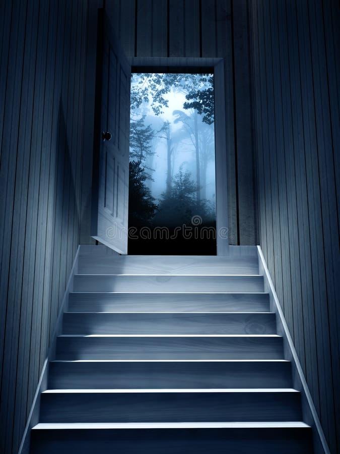Étapes menant à partir d'un sous-sol foncé pour ouvrir la porte illustration de vecteur