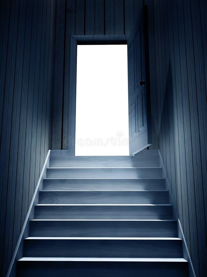 Étapes menant à partir d'un sous-sol foncé pour ouvrir la porte illustration libre de droits