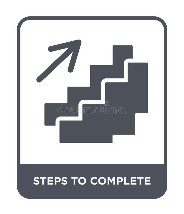 étapes pour accomplir l'icône dans le style à la mode de conception étapes pour accomplir l'icône d'isolement sur le fond blanc é illustration stock