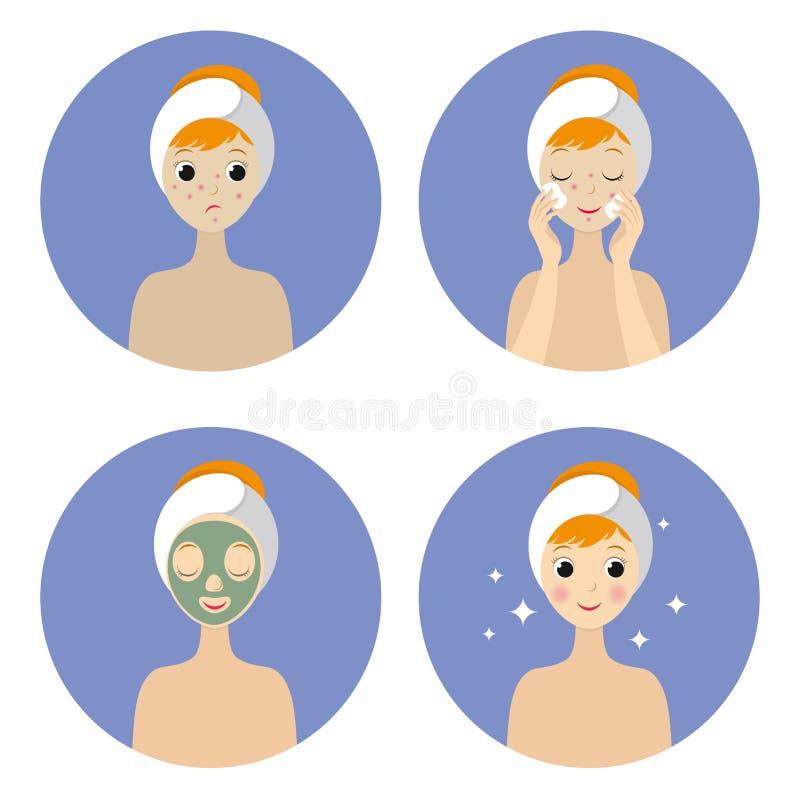 Étapes pour nettoyer le visage pour la fille illustration libre de droits